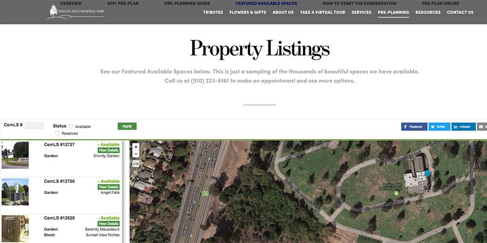 Rolling Hills Memorial Park – CemLS® Website Integration